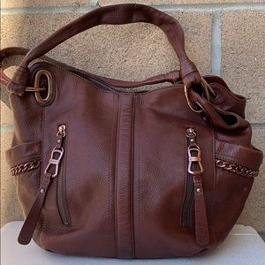 B. Makowsky glove leather chain brown handbag VGUC